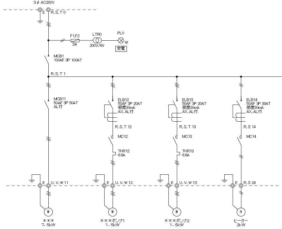 単線結線図 負荷回路の作成